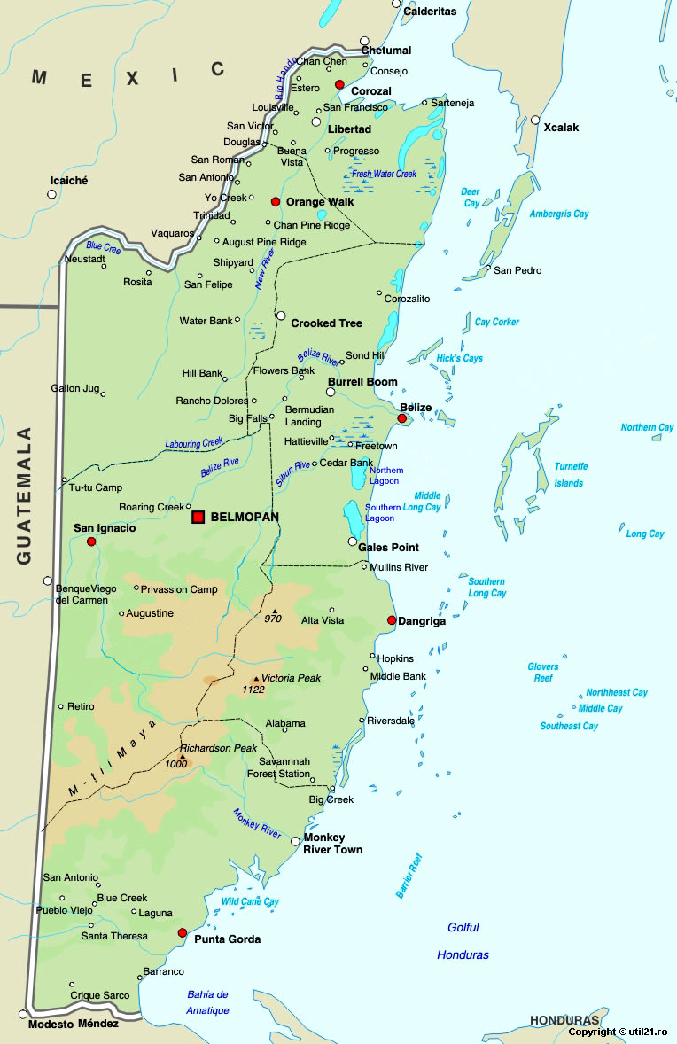 Map Of Belize Maps Worl Atlas Belize Map Online Maps Maps Of