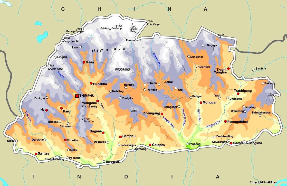 Bhutan Map Online
