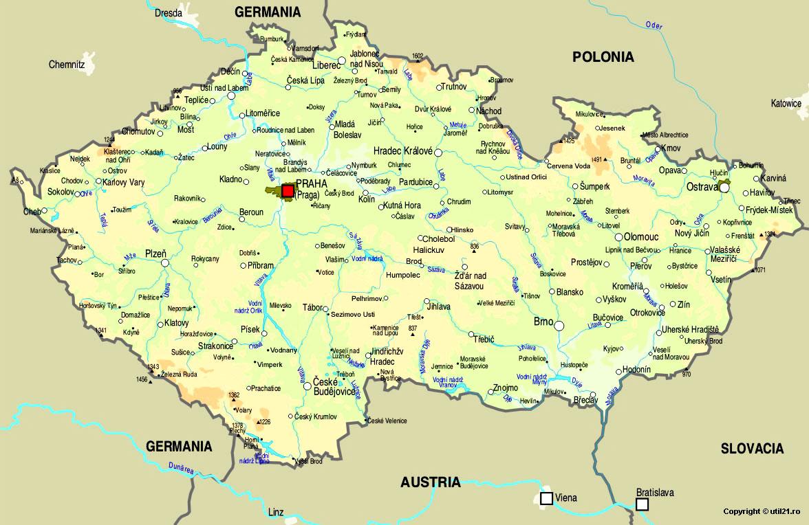 Map Of Czech Republic Maps Worl Atlas Czech Republic Map - Czech republic map