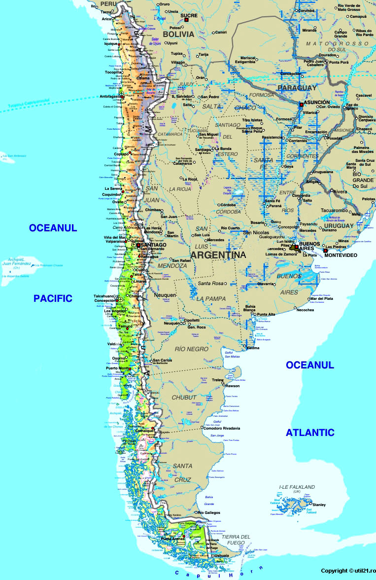 Map Of Chile Maps Worl Atlas Chile Map Online Maps Maps Of - Map of chile