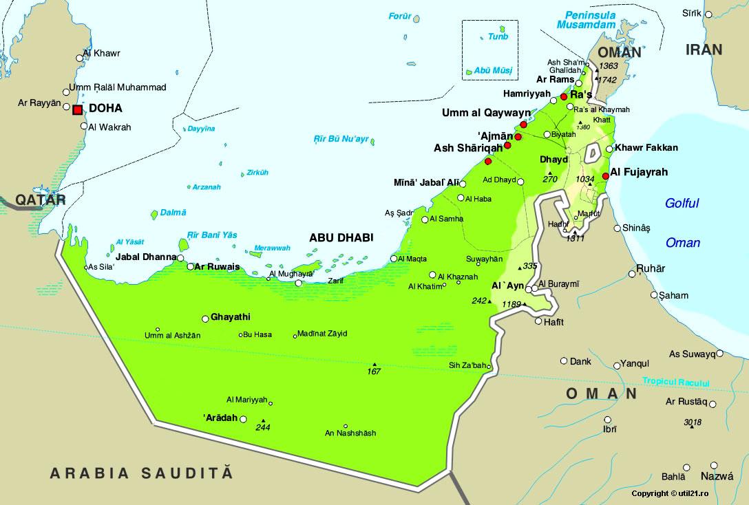 Map of United Arab Emirates maps worl atlas United Arab – Map of United Arab Emirates