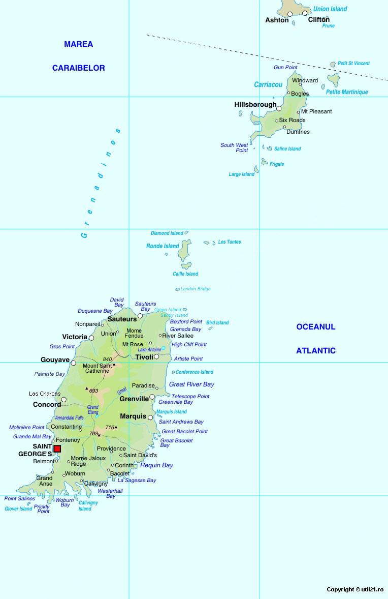 Grenada Island Road Map Grenada Okinawa On Map - Road map of grenada island