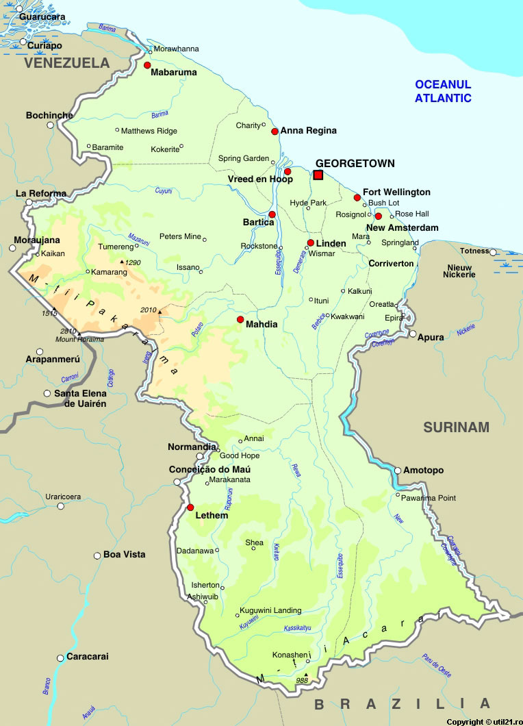 of Guyana maps worl atlas Guyana map online maps maps of the
