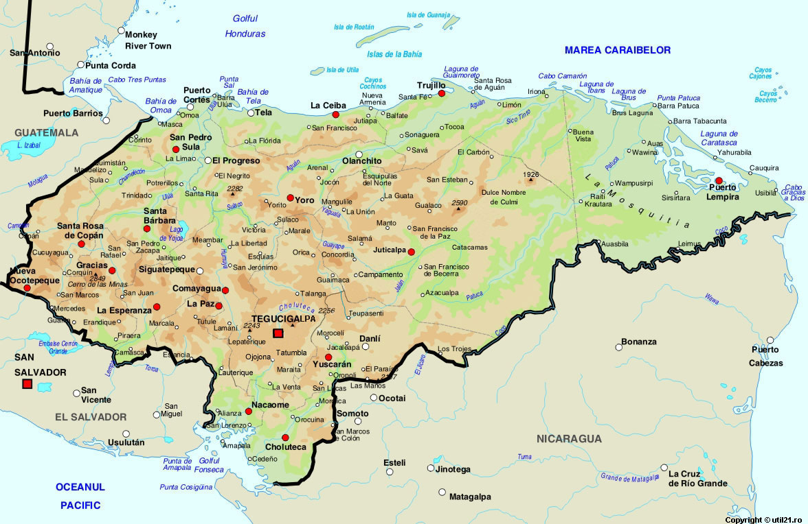Map Of Honduras, Maps, Worl Atlas, Honduras Map, Online Maps, Maps Of The  World, Country Maps, ...