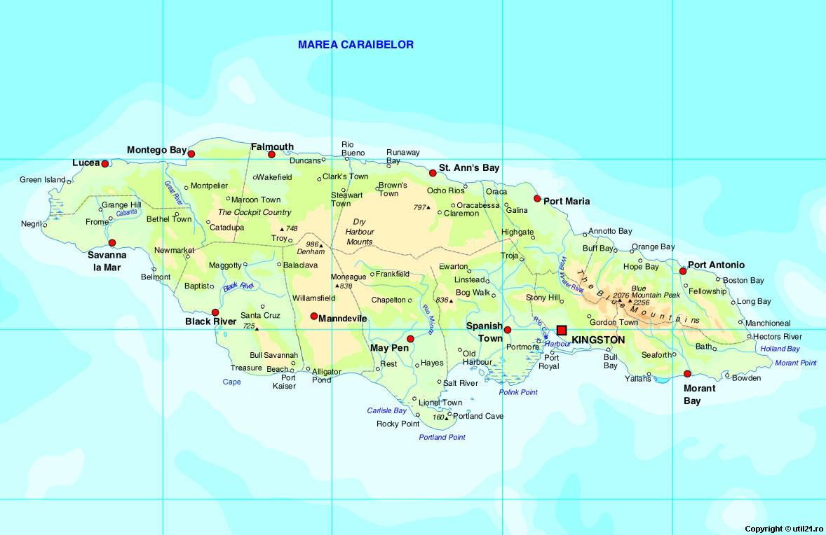map of jamaica  jamaica maps