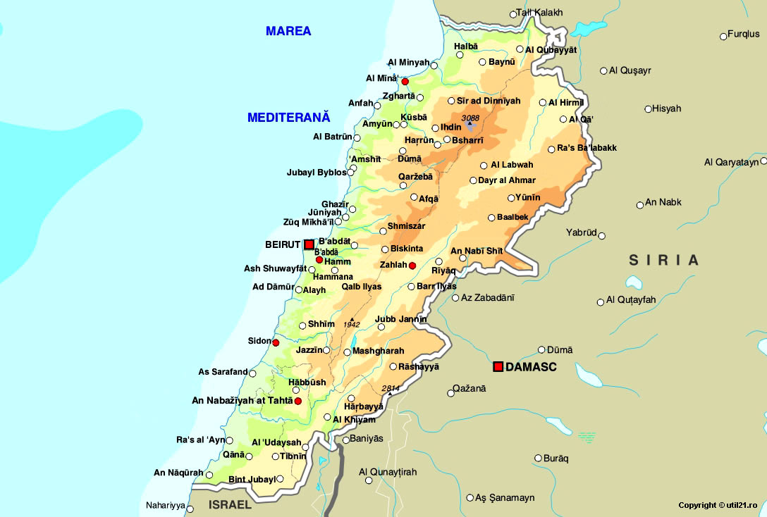Map Of Lebanon, Maps Of The World
