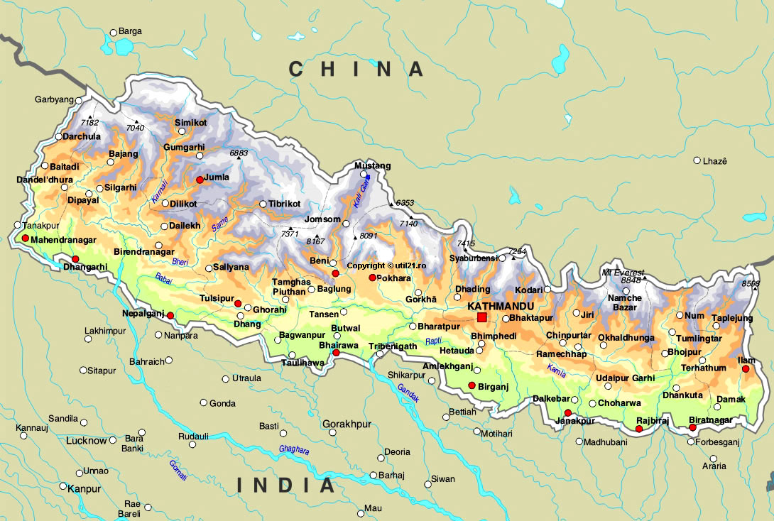 of Nepal maps worl atlas Nepal map online maps maps of the
