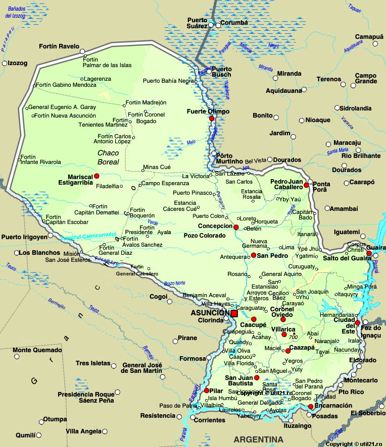 Map of Paraguay, maps, worl atlas, Paraguay map, online maps, maps ...
