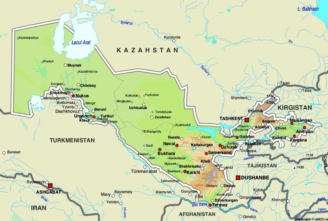 Map of Uzbekistan maps worl atlas Uzbekistan map online maps