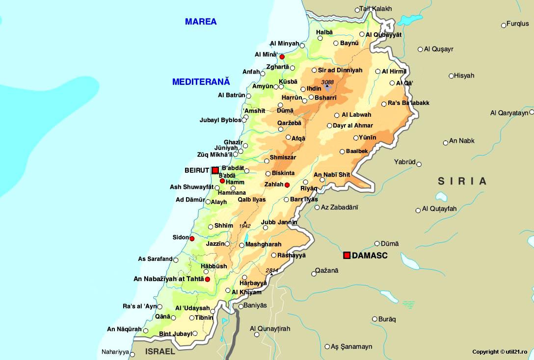 Harta Liban Drapel Liban Statistica Liban Harti Statele Lumii