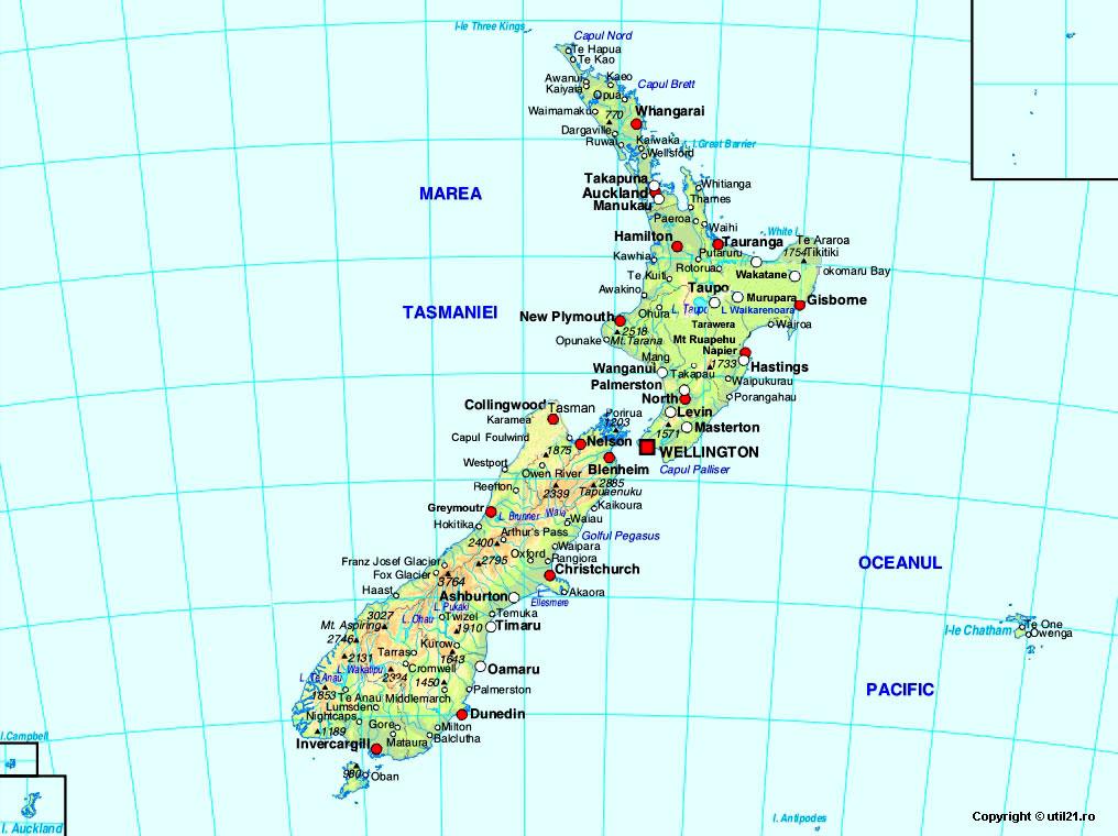 Harta Noua Zeelanda Drapel Noua Zeelanda Statistica Noua