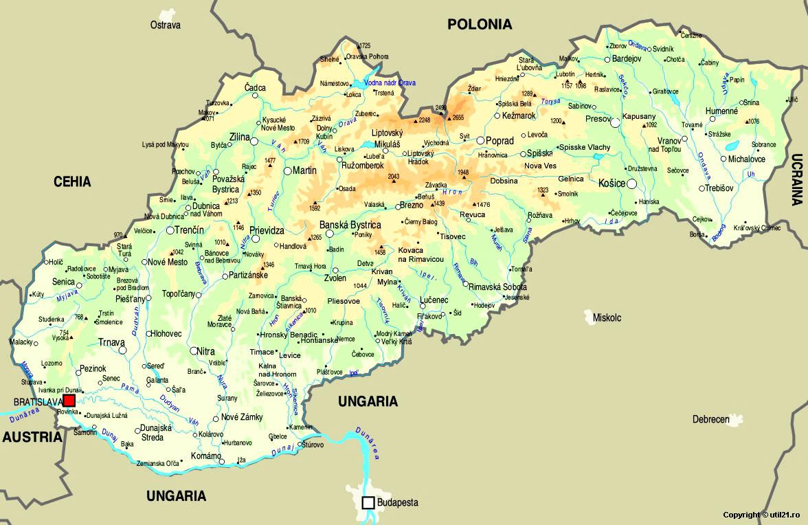 Harta Slovacia Drapel Slovacia Statistica Slovacia Harti